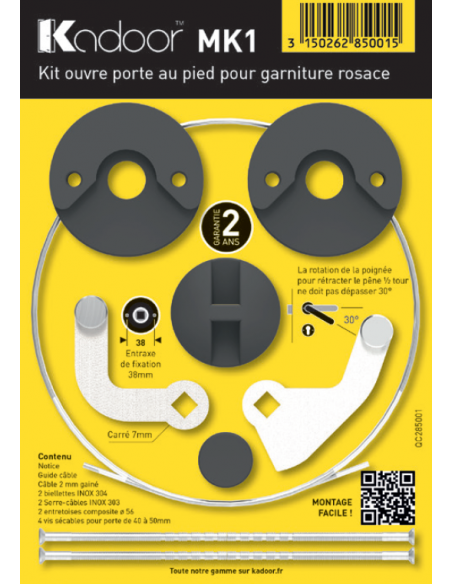 Kadoor - Kit MK1 Garniture Rosace Ouvre Porte au Pied