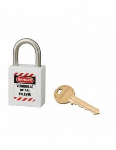 Cadenas de consignation LOTO Lockout Tagout 25 mm anse inox Ø 6 blanc