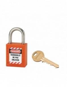 Cadenas de consignation LOTO Lockout Tagout 25 mm anse inox Ø 6 orange