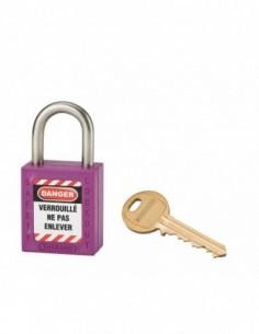 Cadenas de consignation LOTO Lockout Tagout 25 mm anse inox Ø 6 violet