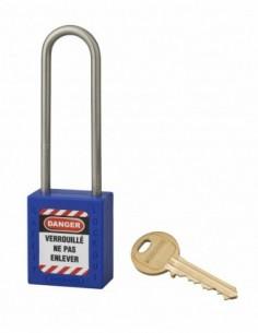 Cadenas de consignation LOTO Lockout Tagout 38 mm anse haute inox Ø 4,76 bleu
