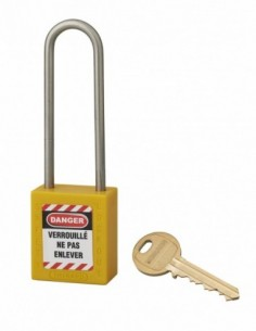 Cadenas de consignation LOTO Lockout Tagout 38 mm anse haute inox Ø 4,76 jaune