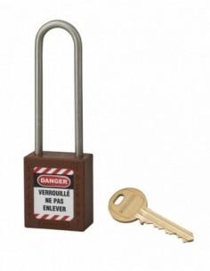 Cadenas de consignation LOTO Lockout Tagout 38 mm anse haute inox Ø 4,76 marron
