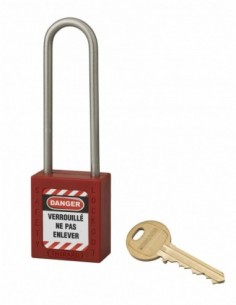 Cadenas de consignation LOTO Lockout Tagout 38 mm anse haute inox Ø 4,76 rouge
