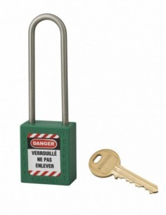 Cadenas de consignation LOTO Lockout Tagout 38 mm anse haute inox Ø 4,76 vert