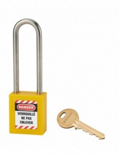 Cadenas de consignation LOTO Lockout Tagout 38 mm anse haute inox Ø 6 jaune