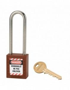 Cadenas de consignation LOTO Lockout Tagout 38 mm anse haute inox Ø 6 marron