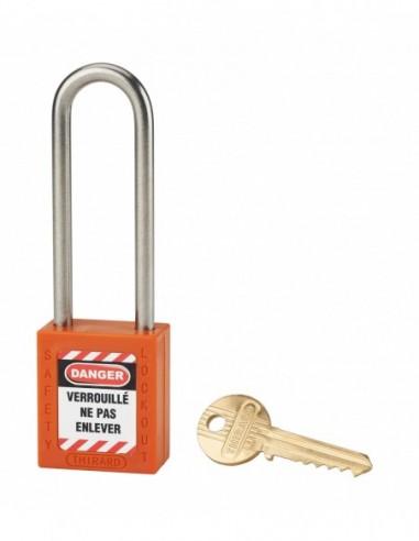Cadenas de consignation LOTO Lockout Tagout 38 mm anse haute inox Ø 6 orange