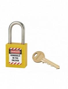 Cadenas de consignation LOTO Lockout Tagout 38 mm anse inox Ø 6 jaune
