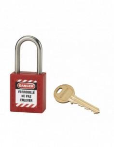 Cadenas de consignation LOTO Lockout Tagout 38 mm anse inox Ø 6 rouge