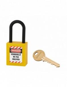 Cadenas de consignation LOTO Lockout Tagout 38 mm anse nylon Ø 6 jaune