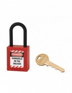 Cadenas de consignation LOTO Lockout Tagout 38 mm anse nylon Ø 6 rouge