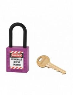 Cadenas de consignation LOTO Lockout Tagout 38 mm anse nylon Ø 6 violet