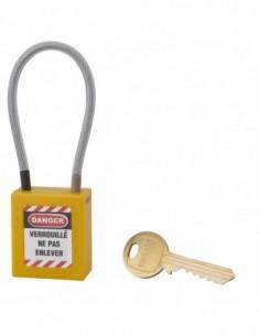 Cadenas de consignation LOTO Lockout Tagout 38 mm câble inox gainé Ø 4,76 x 150mm - 1 clé jaune