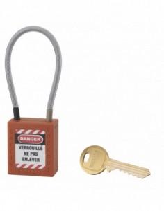 Cadenas de consignation LOTO Lockout Tagout 38 mm câble inox gainé Ø 4,76 x 150mm - 1 clé orange