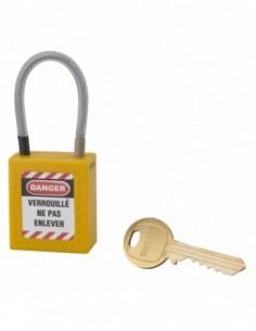 Cadenas de consignation LOTO Lockout Tagout 38 mm câble inox gainé Ø 4,76 x 90mm - 1 clé jaune