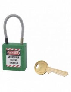 Cadenas de consignation LOTO Lockout Tagout 38 mm câble inox gainé Ø 4,76 x 90mm - 1 clé vert