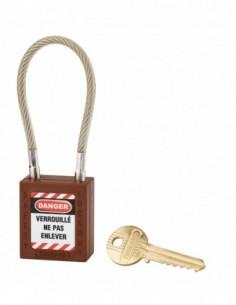 Cadenas de consignation LOTO Lockout Tagout 38 mm câble inox gainé Ø 6 x 150mm - 1 clé marron