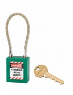 Cadenas de consignation LOTO Lockout Tagout 38 mm câble inox gainé Ø 6 x 150mm - 1 clé vert