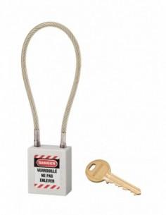 Cadenas de consignation LOTO Lockout Tagout 38 mm câble inox gainé Ø 6 x 240 mm - 1 clé blanc