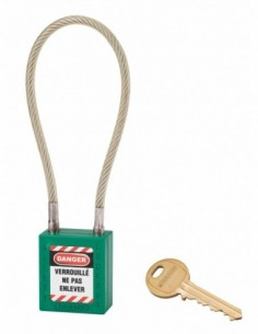 Cadenas de consignation LOTO Lockout Tagout 38 mm câble inox gainé Ø 6 x 240 mm - 1 clé vert