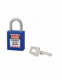 Cadenas de consignation LOTO Lockout Tagout 40 mm anse acier Ø 6 x 25 mm bleu