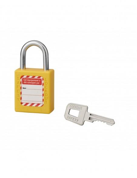 Cadenas de consignation LOTO Lockout Tagout 40 mm anse acier Ø 6 x 25 mm jaune