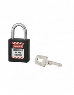 Cadenas de consignation LOTO Lockout Tagout 40 mm anse acier Ø 6 x 25 mm noir