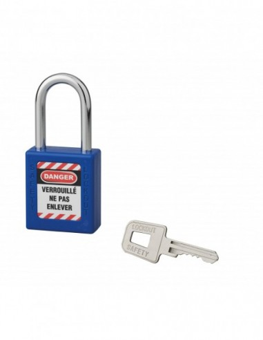 Cadenas de consignation LOTO Lockout Tagout 40 mm anse acier Ø 6 x 38 mm bleu