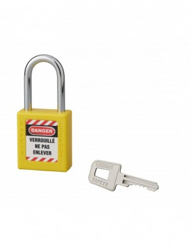 Cadenas de consignation LOTO Lockout Tagout 40 mm anse acier Ø 6 x 38 mm jaune