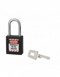 Cadenas de consignation LOTO Lockout Tagout 40 mm anse acier Ø 6 x 38 mm noir
