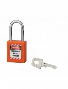 Cadenas de consignation LOTO Lockout Tagout 40 mm anse acier Ø 6 x 38 mm orange