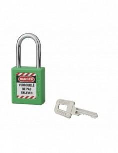 Cadenas de consignation LOTO Lockout Tagout 40 mm anse acier Ø 6 x 38 mm vert