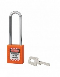 Cadenas de consignation LOTO Lockout Tagout 40 mm anse acier Ø 6 x 76 mm orange