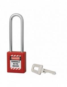 Cadenas de consignation LOTO Lockout Tagout 40 mm anse acier Ø 6 x 76 mm rouge