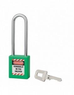 Cadenas de consignation LOTO Lockout Tagout 40 mm anse acier Ø 6 x 76 mm vert