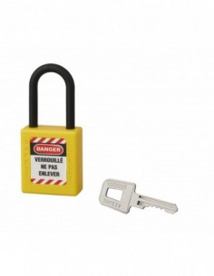 Cadenas de consignation LOTO Lockout Tagout 40 mm anse nylon Ø 6 x 38 mm jaune