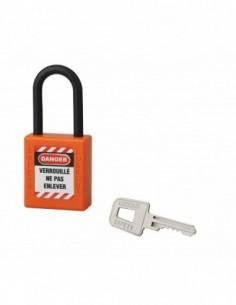 Cadenas de consignation LOTO Lockout Tagout 40 mm anse nylon Ø 6 x 38 mm orange