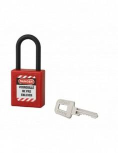 Cadenas de consignation LOTO Lockout Tagout 40 mm anse nylon Ø 6 x 38 mm rouge