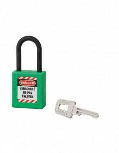 Cadenas de consignation LOTO Lockout Tagout 40 mm anse nylon Ø 6 x 38 mm vert