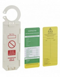 Support tag echaffaudage avec étiquette 92 x 325mm