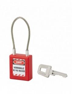 Cadenas à clé 40 mm câble acier Ø 3 x 150 mm - 1 clé
