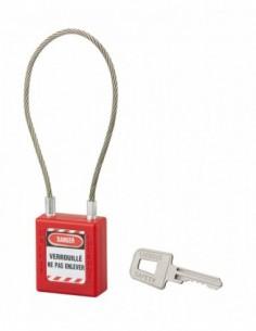 Cadenas à clé 40 mm câble acier Ø 3 x 240 mm - 1 clé