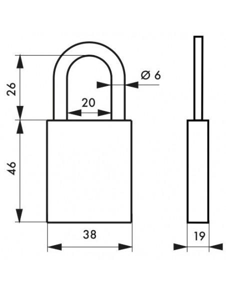 Cadenas à clé COBBLE 38 mm jaune