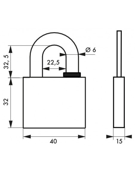 Cadenas à clé REVERSO 40 mm 4 clés réversibles