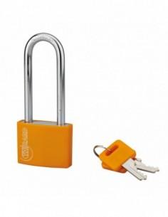 Cadenas à clé TYPE 1 aluminium color 40 mm anse 1/2 haute orange