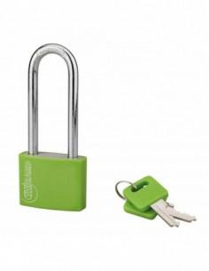 Cadenas à clé TYPE 1 aluminium color 40 mm anse 1/2 haute vert