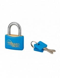 Cadenas à clé COLOR bleu 40 mm