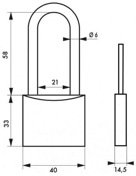 TYPE 1 - 40 mm anse 1/2 haute 58 mm