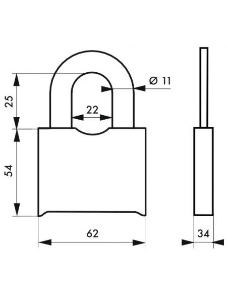 Cadenas SR 60 mm à combinaison modifiable